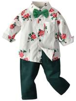 ARTMINE Baby Boy Clothes, Toddler Boys Gentleman Bow Tie Outfit, Little Boys Long Sleeves Button Down Floral Print Hawaiian Dress Shirt and Pants Set, ST1# White, 2-3 Years Toddler=Tag 110