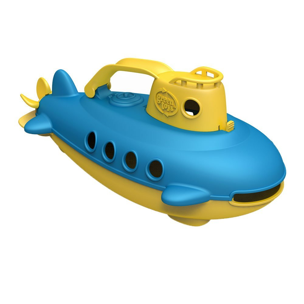 Submarine in Yellow & Blue - BPA Free, Phthalate Free, Bath Toy with Spinning Rear Propeller. Safe Toys for Toddlers, Babies
