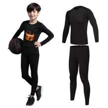 2/3/4 Pcs Boys Girls Athletic Compression Leggings and Shirts Running Tights Base Layer Thermal Set