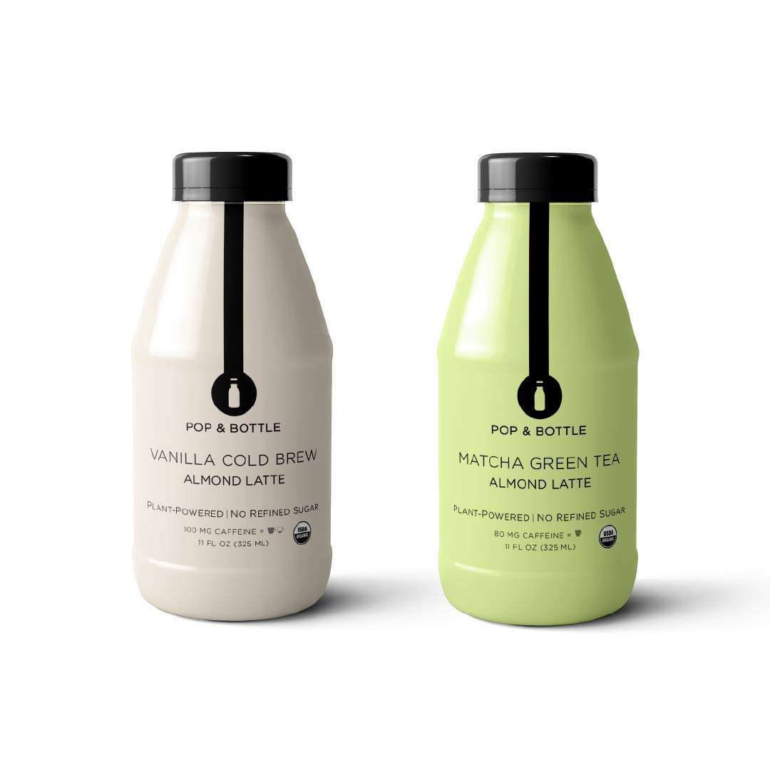 Pop & Bottle Lattes, Vanilla and Matcha Pack, 12 pack, 11oz each (organic, fair trade, plant based, superfood enriched, paleo)