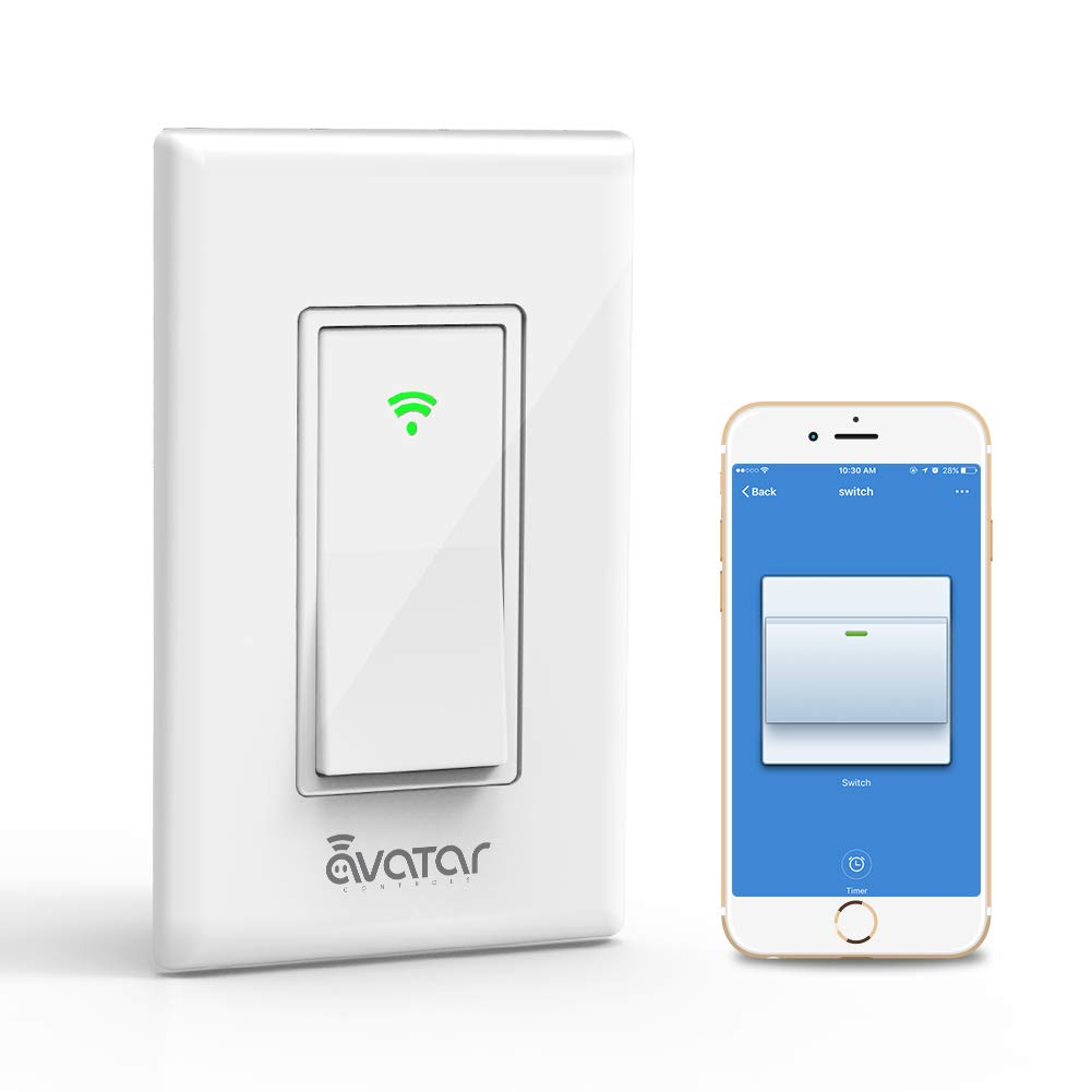 Smart Switch, WiFi Light Switches Work with Alexa/Google Home/IFTTT, Easy and Safe In-Wall installation, Smart Life APP Control ON/OFF/Timer - Avatar Controls