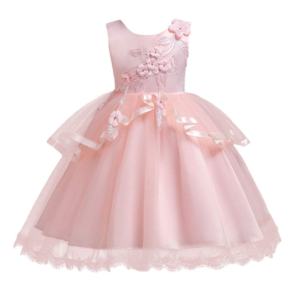 IBTOM CASTLE Baby Girl Flower Pageant Birthday Formal Dress Kids Tutu Baptism Wedding Party Dance Short Gowns