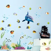 Holly LifePro Ocean Fish Wall Decal,Under The Sweet Blue Dolphin Wall Stickers for Kids Room Living Room Cafe Classroom Wall Decor Style-Tree