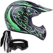 Typhoon Adult ATV MX Helmet Goggles Gloves Gear Combo Matte Green w/Black (XL)