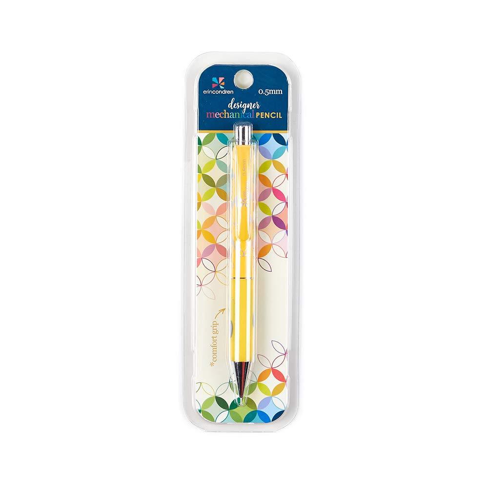 Erin Condren Designer Mechanical Pencil Compatible with 0.5mm HB Lead. Premium Comfort Grip, Includes Three Refills and Capped Eraser - Marigold Design Theme