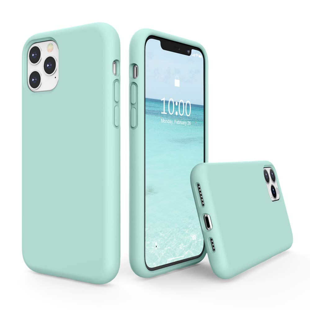 SURPHY Silicone Case Compatible with iPhone 11 Pro Max Case 6.5 inch, Liquid Silicone Full Body Thickening Design Phone Case (with Microfiber Lining) for iPhone 11 Pro Max 6.5 2019, Mint Green