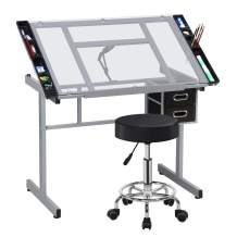 YAHEETECH Drafting Drawing Table Art Artist Desk Craft Station Study Table Tempered Glass Top with Salon Stool