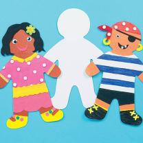 Baker Ross Large Person Card Shapes (Pack of 12) for Kids to Decorate, Arts and Crafts