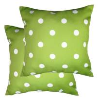 Poise3EHome Outdoor Pillow Covers Set of 2 Waterproof Decorative Throw Pillow Covers for Couch, Patio Garden, Spring Summer Decor, 18X18 Inches, Green Polka Dot