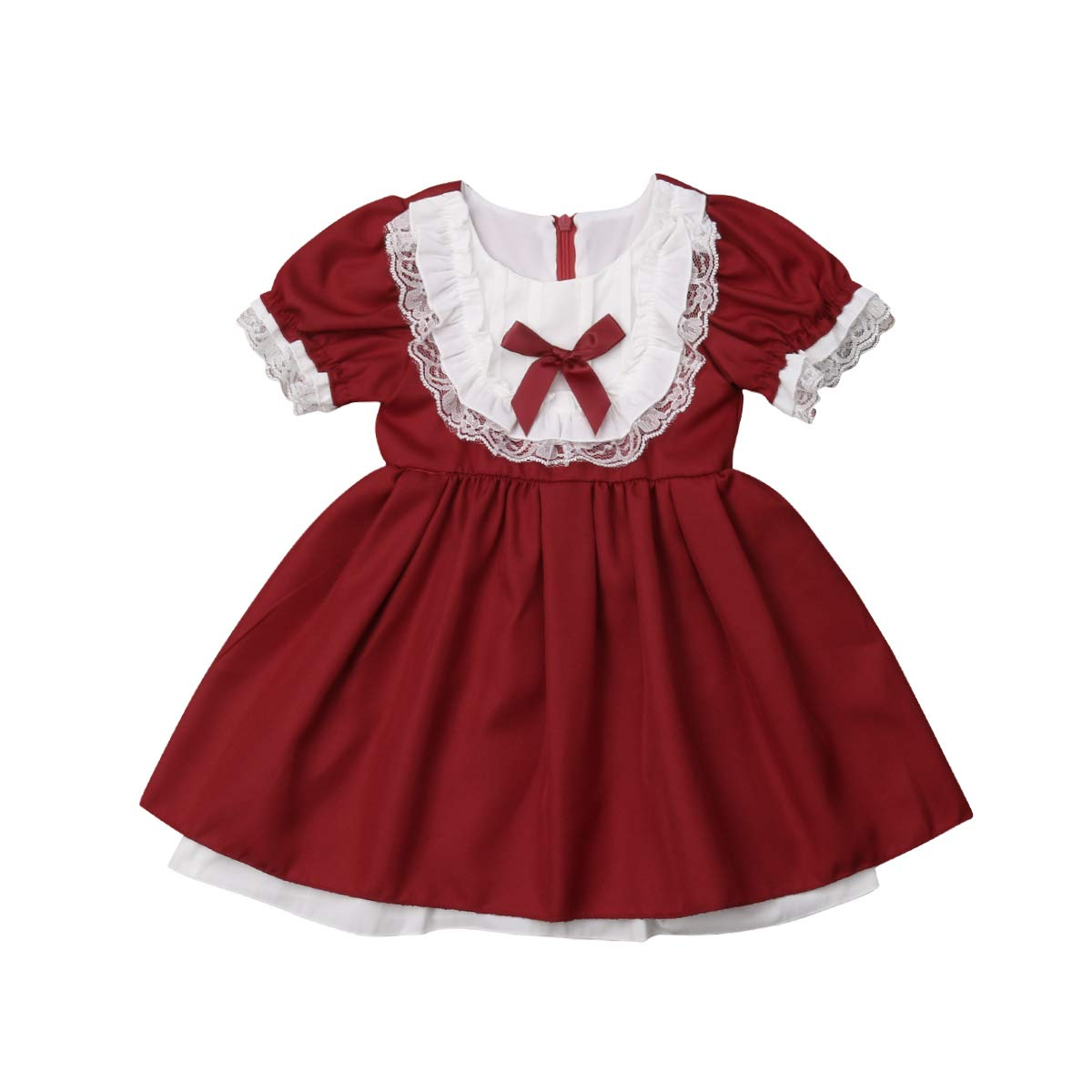 Christmas Toddler Kids Baby Girl Floral Lace Party Pageant Dress Wedding Bridesmaid Princess Formal Tutu Dress