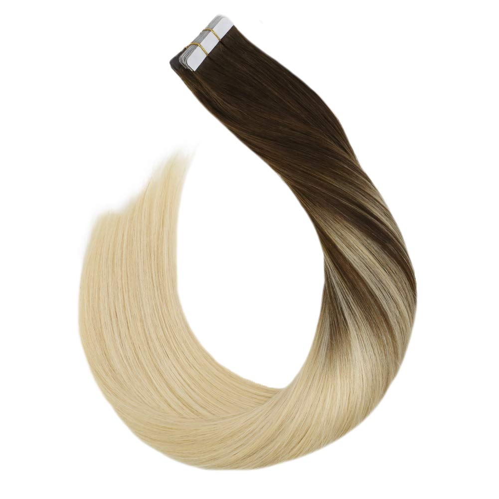 Ugeat Skin Weft Tape Extensions 50g/20PCS Tape Extensions With Highlights Color #4 Brown Mixed with #60 Blonde Remy Human Hair Extensions Tape in