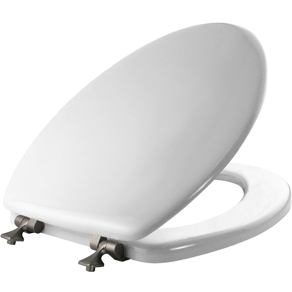 MAYFAIR 1844BNA 000 Toilet Seat with Brushed Nickel Hinges will Never Come Loose, ELONGATED, Durable Enameled Wood, White