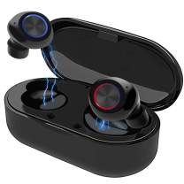 True Wireless Earbuds Bluetooth 5.0 with Charging Case,Mini HD Stereo Sound Noise Cancelling in-Ear Headphones,Touch Control IPX7 Waterproof Sports Earphone Built-in Mic for iPhone/Android(Black)
