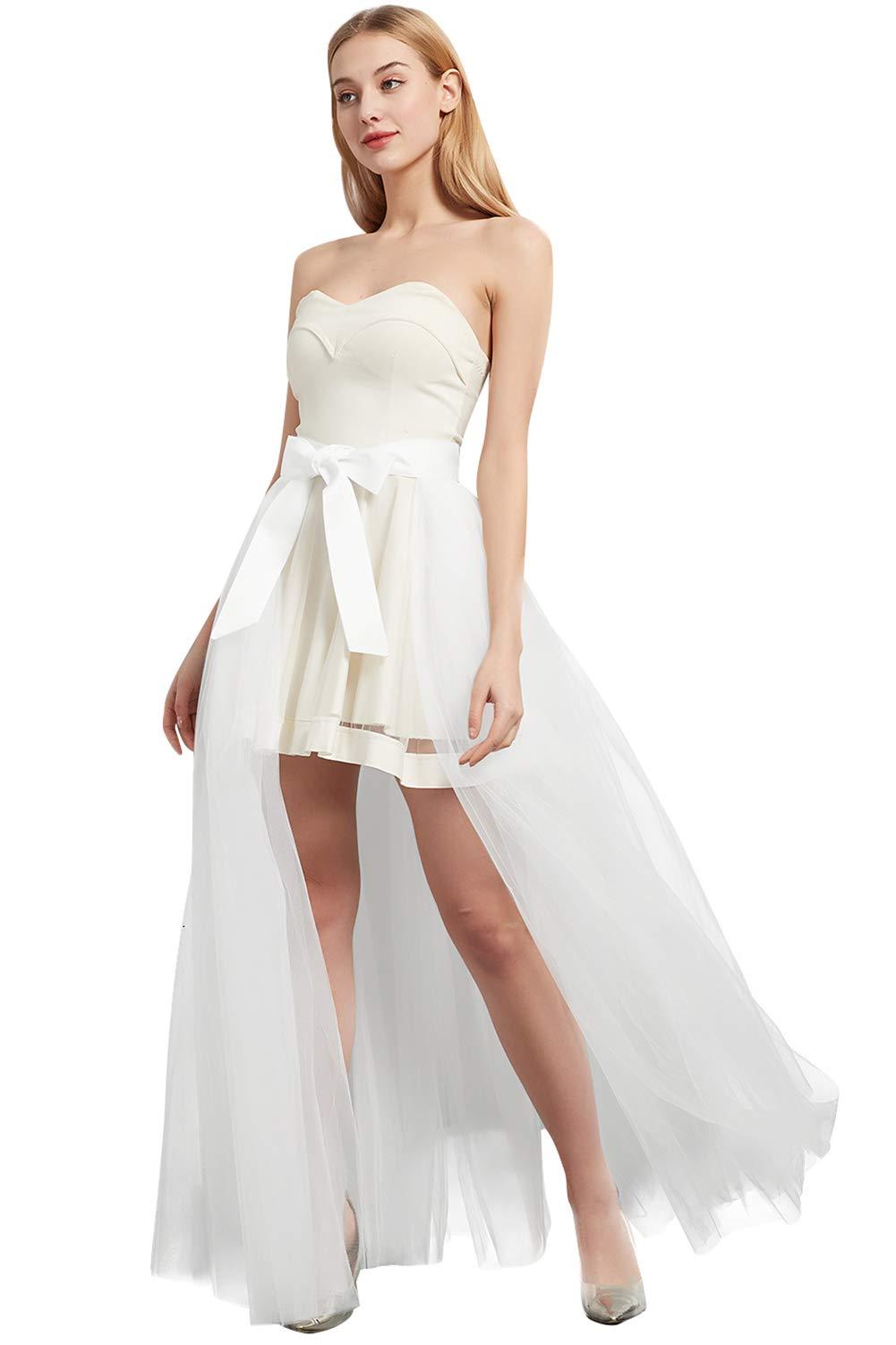 Women Wedding Maxi Tulle Skirts Detachable Train Overskirt Overlay Long Bridal