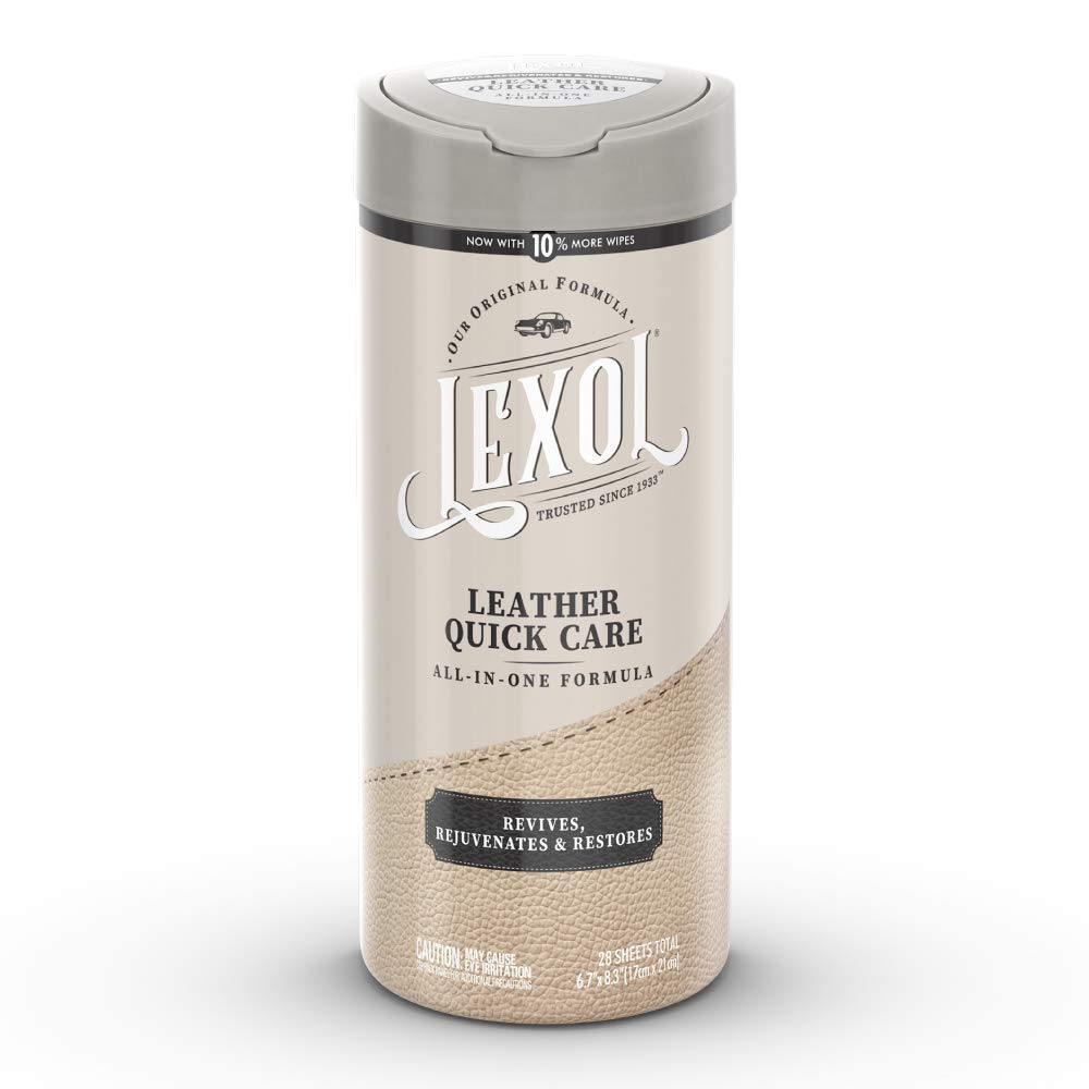 Lexol All Leather Quick Care All-in-One Formula, Best Leather Cleaner and Conditioner, for Use on Leather Apparel, Furniture, Auto Interiors, Shoes, Bags, 28-Count Sheet Wipes