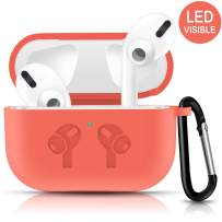 Airpods Pro Case,Cute Carrying Case with Keychain for AirPods Pro Charging Case [2019 Release] Shock-Absorbing Soft Slim Silicone Case Skin [Visible Front LED] (Orange)