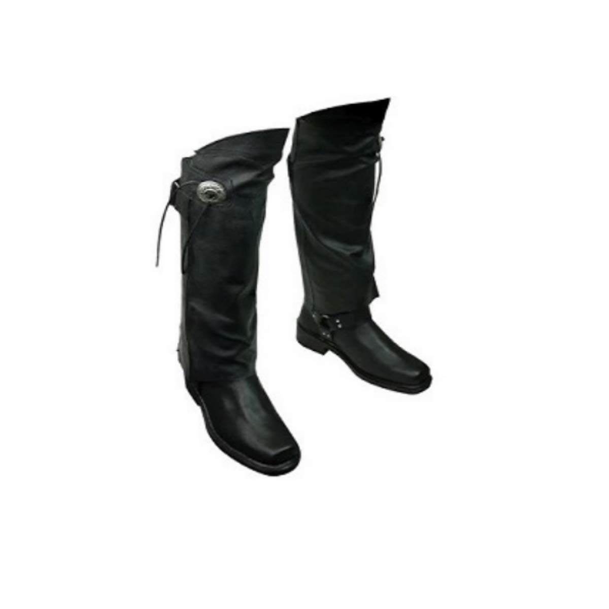 The Nekid Cow | Leather Motorcycle Half Chaps Short Gaiter Stay Up Lined Leg Warmers with Zipper and Velcro with Concho & Fringes for Horse Riders, Bikers, Motorcycle Men and Woman (3X- 4X)
