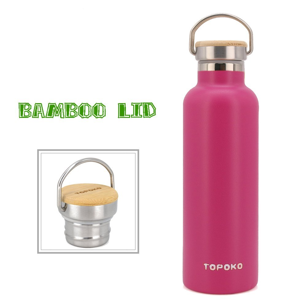 TOPOKO 25 oz Stainless Steel Vacuum Insulated Water Bottle, Keeps Drink Cold up to 24 Hours & Hot up to 12 Hours, Leak Proof and Sweat Proof Thermal Bamboo Lid with Handle