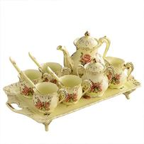 ufengke 8 Piece Creative European Luxury Tea Set, Ivory Porcelain Ceramic Coffee Set With Tea Tray, Hand Painted Red Rose Flower, For Wedding Decoration