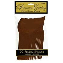 """Amscan Party Perfect Reusable Plastic Spoons (20 Piece), Brown, 9.5 x 5.4"""""""