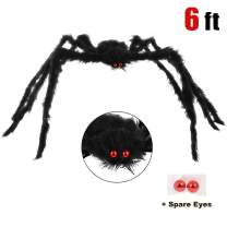 yosager Halloween Giant Spider Decorations with Spare Eyes, Foldable Hairy Scary Halloween Spider for Indoor House Outdoor Yard Decorations, 6 Feet