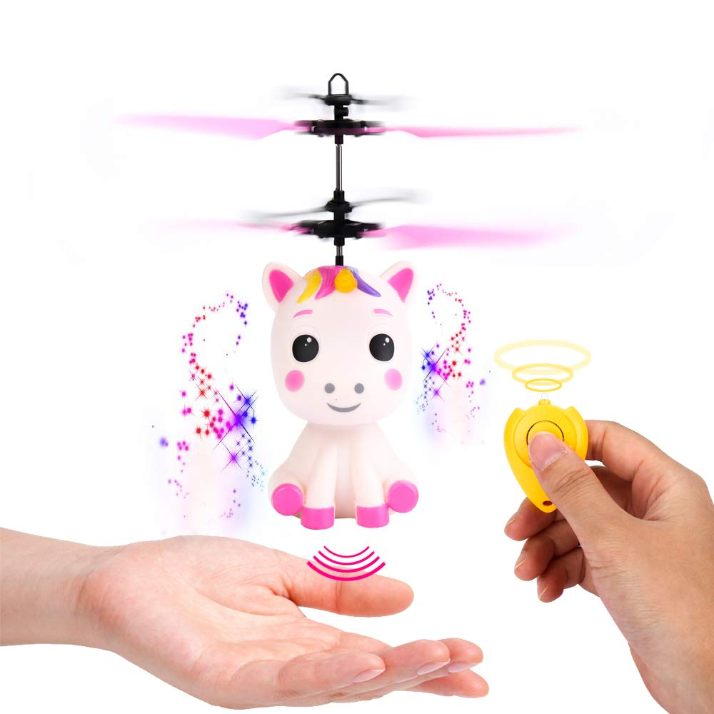 Flying Unicorn Toys Flying Fairy Toys for Girls Flying Ball RC Helicopter with Remote Control Hand Controlled Horse Unicorn Birthday for 3 4 5 6 7 8 9 Year Old Girls Boys Kids
