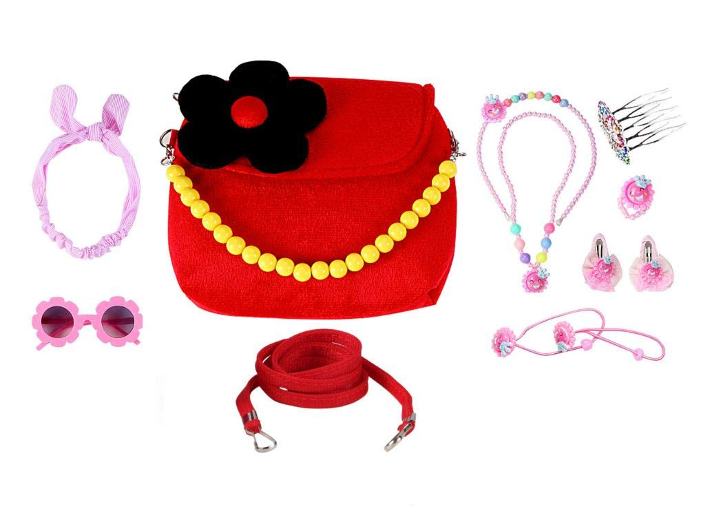WODISON Little Girls Small Purse Plush 3D Flower Handbag Crossbody Bag Set Dress Up with Accessory
