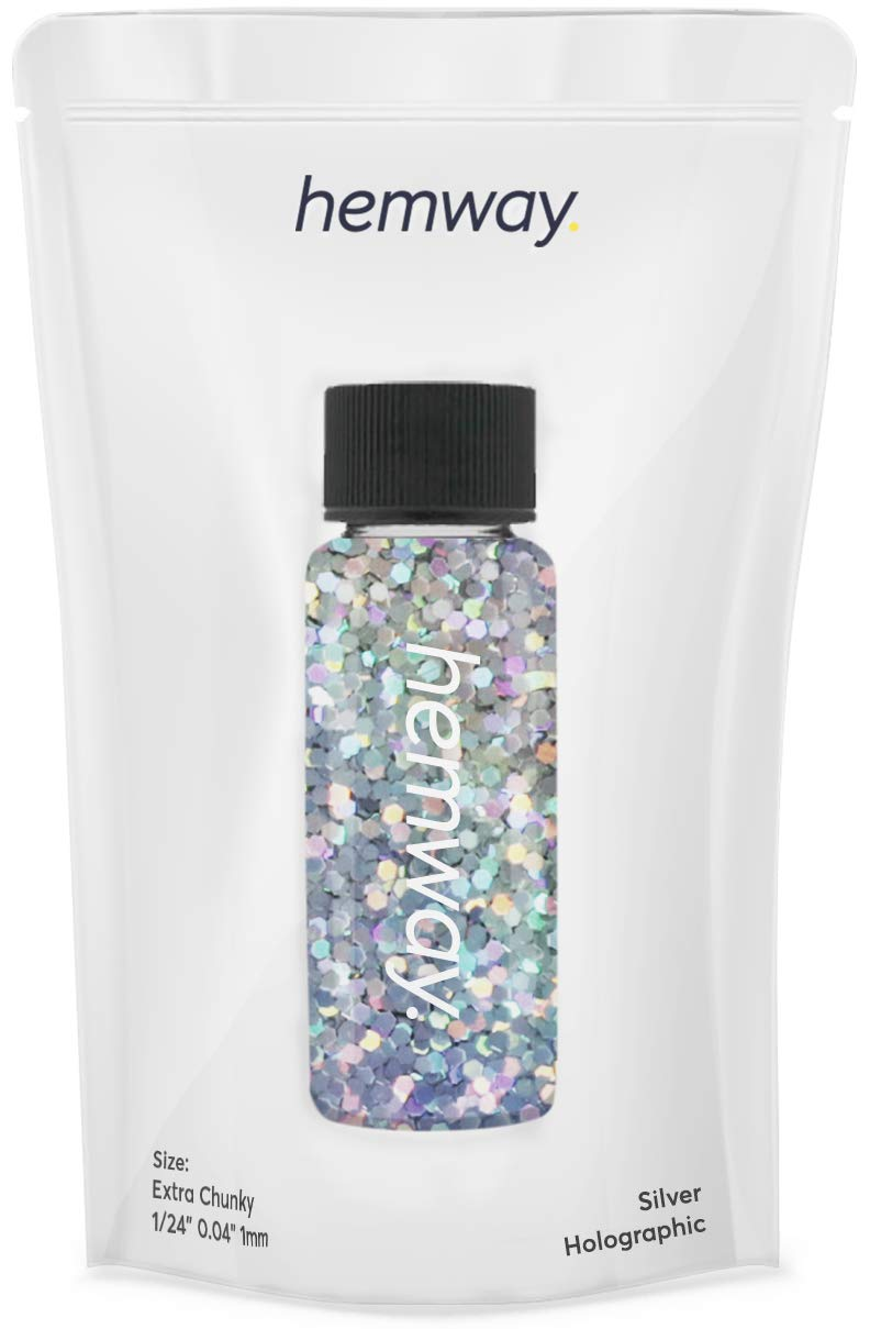 """Hemway Glitter Tube 12.8g / 0.45oz Extra Chunky 1/24"""" 0.04"""" 1MM Premium Sparkle Gel Nail Dust Art Powder Makeup Pigment Eyeshadow Face Body Eye Cosmetic Safe-(Silver Holographic)"""