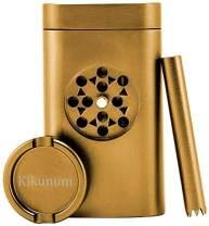 Spice Grinder Portable Stash Holder Aluminum Magnetic Lid for Smell Proof | Special 2 In 1 Design with Mini Herb Grinder (Gold)