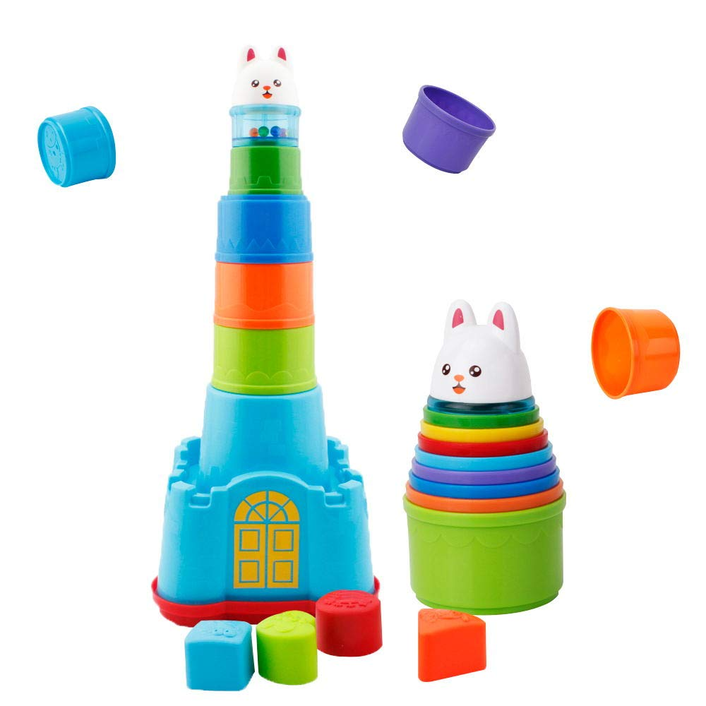 WISHTIME Baby Stacking Cups Bath Toy - Castle Stacking Sorting Nesting Bath Beach Toys Educational Development Toy for Baby Toddlers Kids 1 2 3 4-5 Year Old Girls Boys