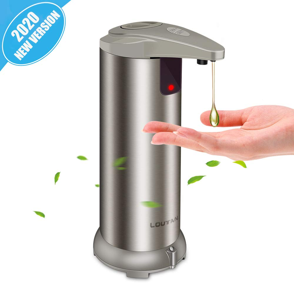 Automatic Soap Dispenser - Touchless Soap Dispenser with Waterproof Base, Infrared Motion Sensor Stainless Steel Dish Liquid Free Auto Hand Soap Dispenser for Bathroom or Kitchen, 2020-New Version