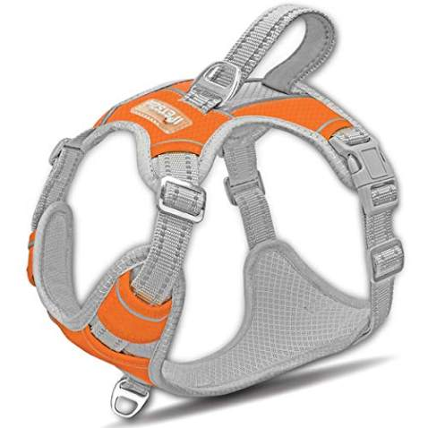 IPETSZOO Dog Harness for Large Dogs No Pull,Easy Walk Harness,3M Reflective No-Choke Dog Vest,Adjustable Soft Padded Pet Vest with Control Handle for Medium Large Dogs(Orange,L)