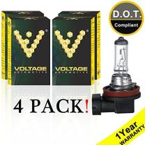 Voltage Automotive H11 Standard Headlight Bulb (4 Pack) - OEM Replacement Halogen High Beam Low Beam Fog Lights Driving Lights