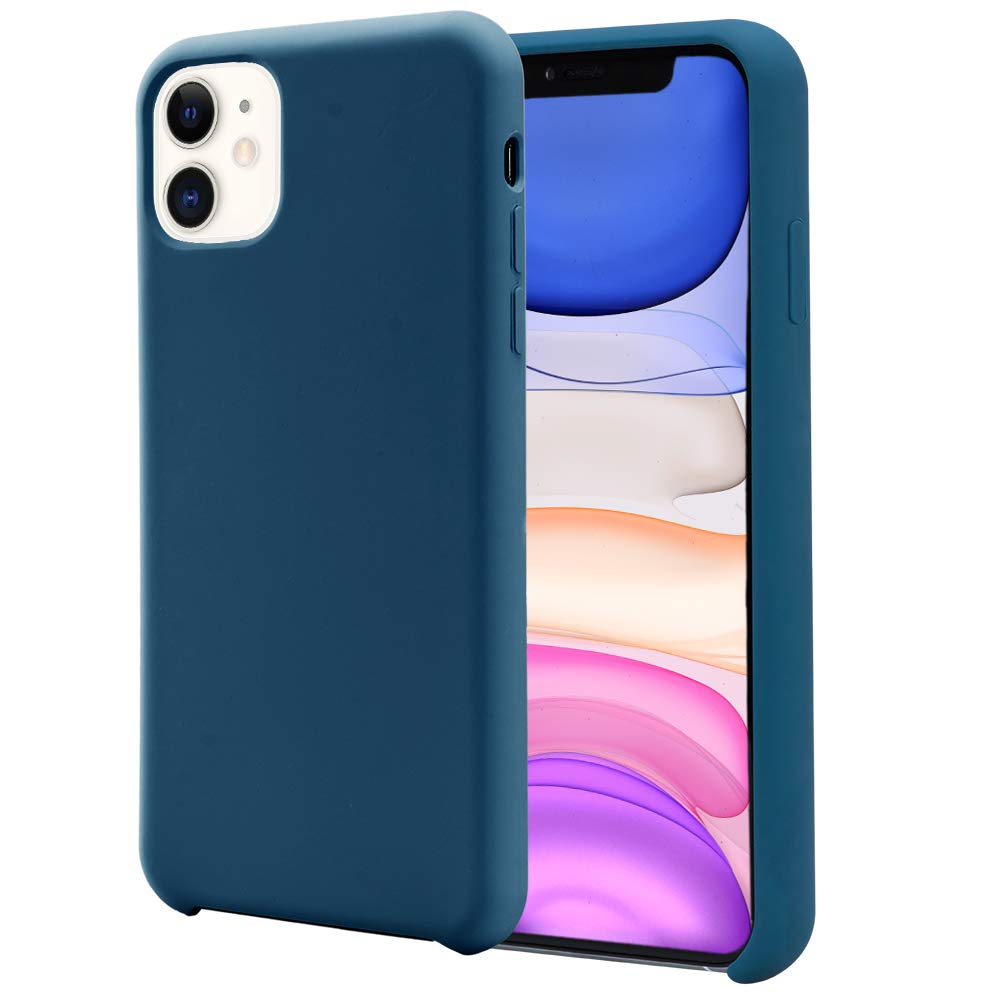 Orzero Liquid Silicone Gel Rubber Case Compatible for iPhone 11 2019, Full Body Shock Absorbing Ultra Slim Protective (Baby Skin Touch) -Navy
