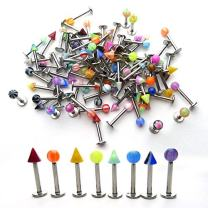 Groupcow 100pcs Stainless Steel Labret Lip Bar Ring Body Piercing Barbell Jewelry Ball