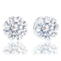 18k Gold Plated Cubic Zirconia Crown Solitaire Stud Earrings (3.50 carats)