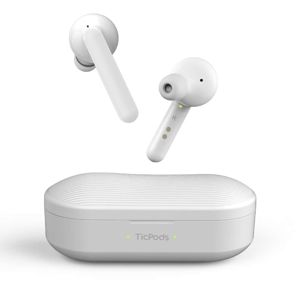 Wireless Earbuds TicPods 1 True Bluetooth Earbuds with Charging case, Water Resistant, Clear Crisp Audio in Both Ears, Noise isolating, Ice