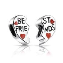 Beset Friends Forever Bff Split Red Heart Two Piece Charm Bead For Women For Teen Sterling Silver Fit European Bracelet
