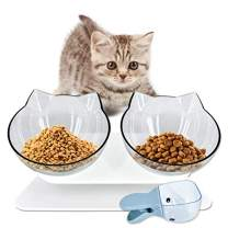 RIO Direct Elevated Double Cat Bowls, 15° Tilted Platform Cat Food Bowl with Raised Stand, Pet Feeding Bowls for Cats and Small Dog