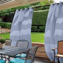 cololeaf Water Repellent Outdoor Decor Panel Grommet at top and Bottom Curtains/Drapes Panels for Patio,Front Porch,Gazebo, Pergola, Cabana, Dock, Beach Home,Sky Blue 100W x 120L Inch (1 Panel)
