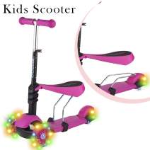 Toysery 3 in 1 Kick Scooter for Kids with Foldable Seat, Adjustable Height w/Extra Wide Deck, LED Light Up PU Flashing 3 Wheels Scooter, Toddler Girls and Boys Age 3+, Perfect for Children - Pink