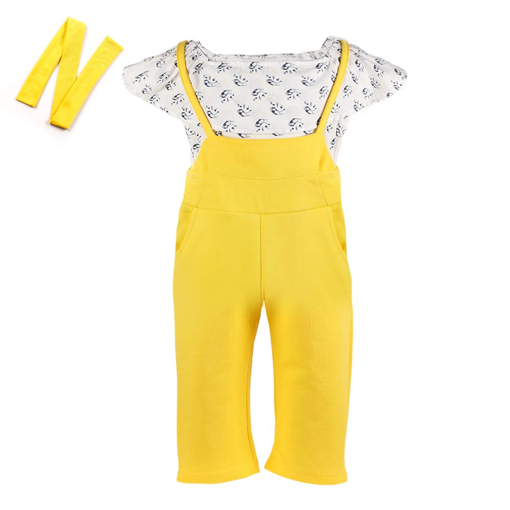 Anmino Toddler Baby Little Girl 3PCs Jumpsuit Suspenders Pants Set Kids Girls Cotton Outfit