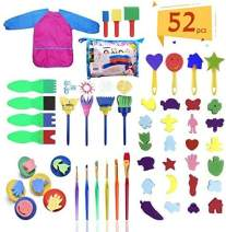 Hirsrian 52pcs Kids Paint Brushes Kits, Early Learning Kid Sponge Painting Foam Brushes Set for Toddlers