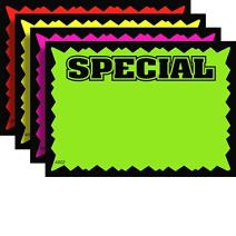 """3.5"""" x 5.5"""" Special Rectangular Fluorescent Burst Neon Sign Cards - Multi-Pack - 100 Total Cards"""