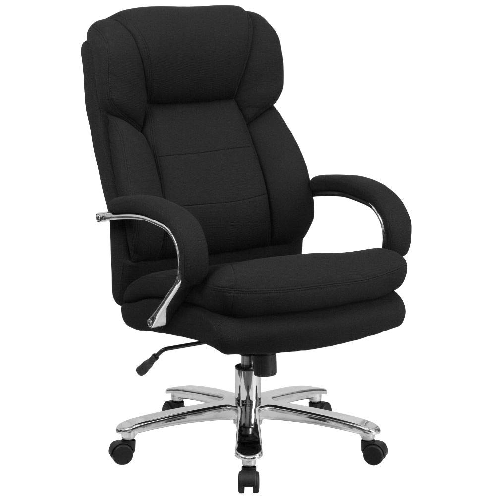 Flash Furniture HERCULES Series 24/7 Intensive Use Big & Tall 500 lb. Rated Black Fabric Executive Ergonomic Office Chair with Loop Arms, BIFMA Certified