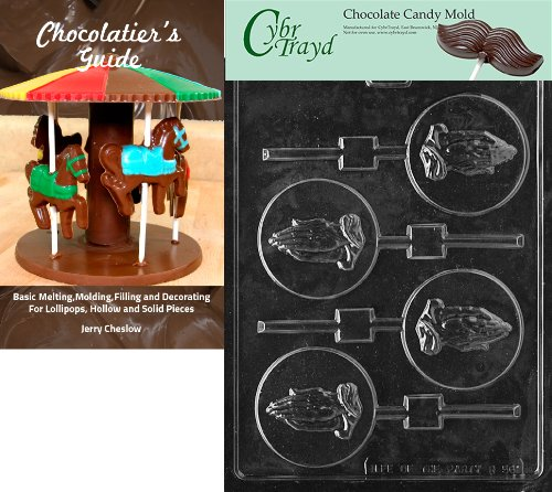 Cybrtrayd Praying Hands Lolly Chocolate Candy Mold with Chocolatier's Guide
