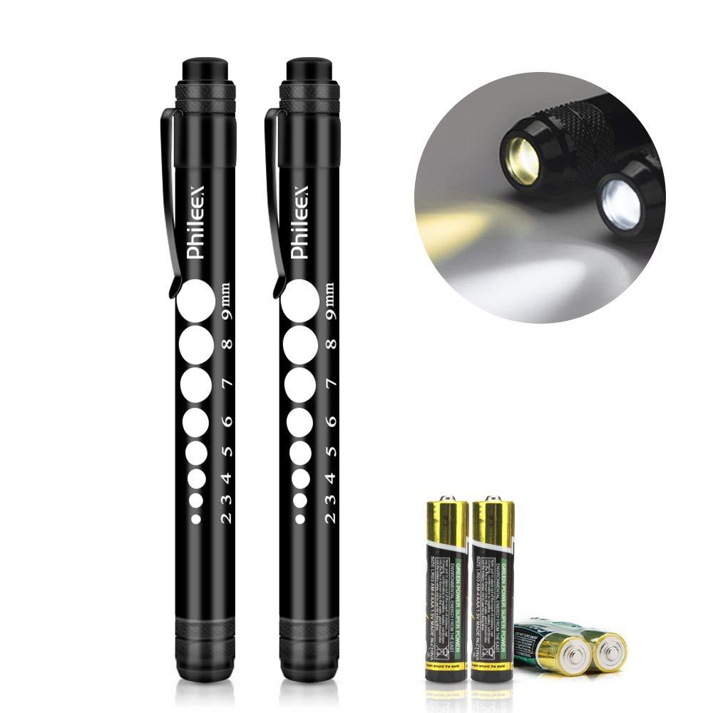 Pen Light, Phileex Medical Pen Light Nurse Pen Lights with Pupil Gauge for Nurses Nursing Students Doctors 2pcs Black with Batteries