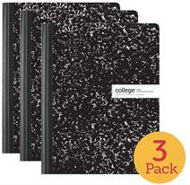 "1InTheOffice College Ruled Composition Notebook, 100 Sheets, 7 1/2"" x 9 3/4"", 3 Pack"