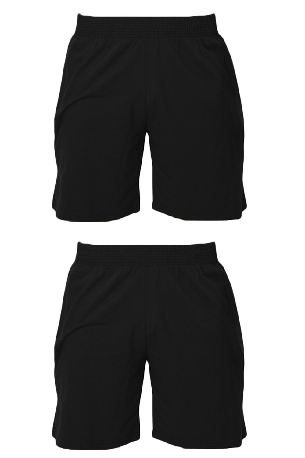 Men's 2 Pack (Qty 2) American Made Classic Cotton Pocket Shorts (Small, 2 Pack Black/Black)