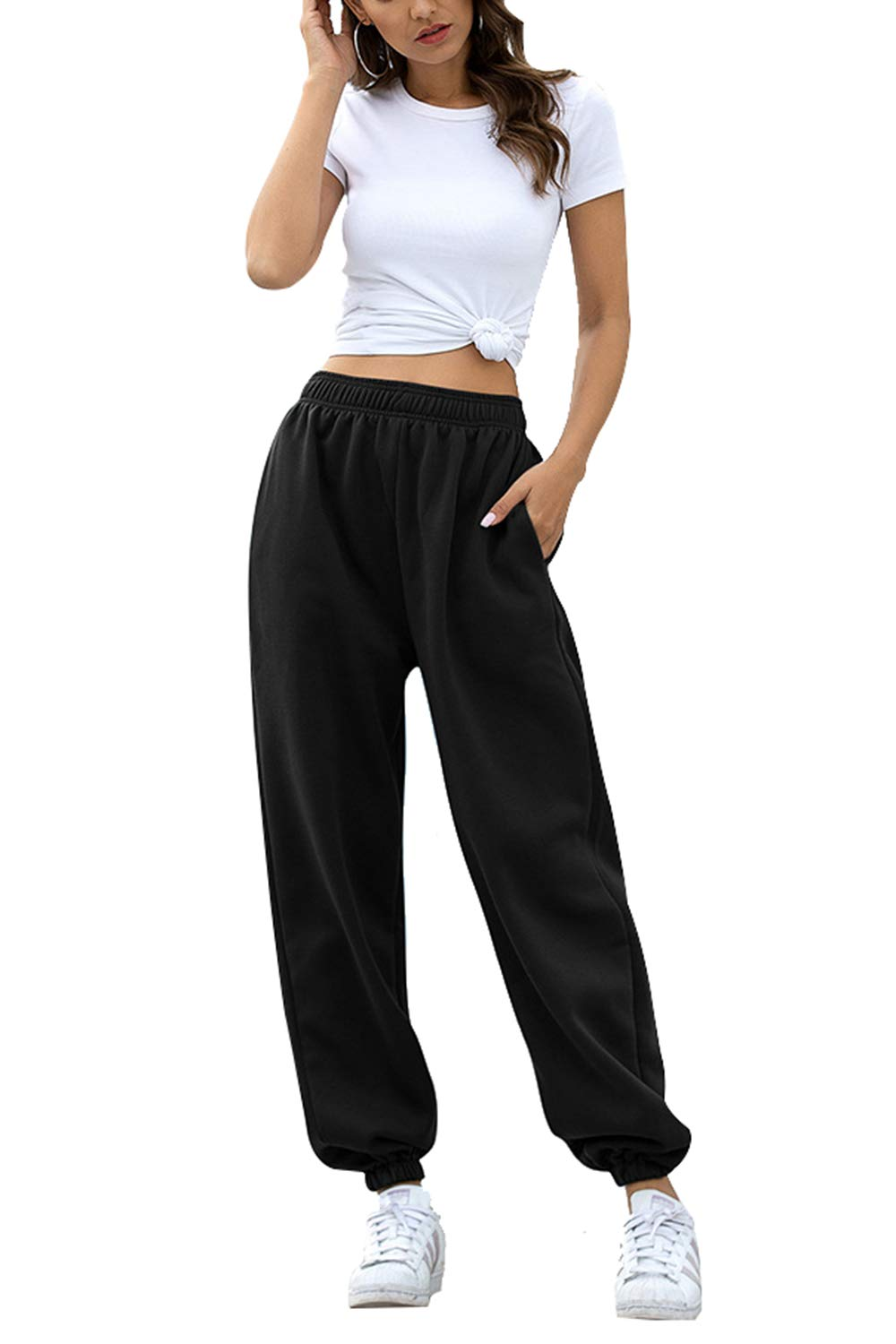Pink Queen Women's High Waisted Joggers Sweatpants Baggy Loose Lounge Bottom Pocket Pants